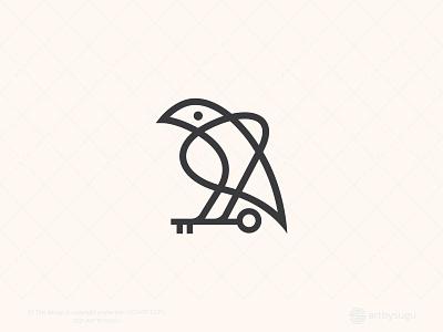 Raven With Key Logo (for Sale) security real estate logos key logo raven logo graphic design logoground icon logoforsale logodesign logotype symbol vector design logo unused logo ready made logo premade logo branding morden illustration