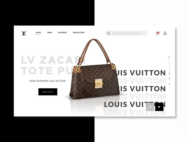 Louis Vuitton landing page header design fashion whitespace redesign trending popular new clean studio shop commerce louis vuitton newbie freelance white black design web ui minimalist invision