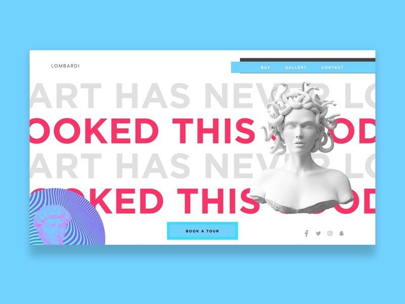 Lombardi Art Gallery - Light UI creative studio gray pink statue clean light retro bold art africa nigeria web freelance ui invision design