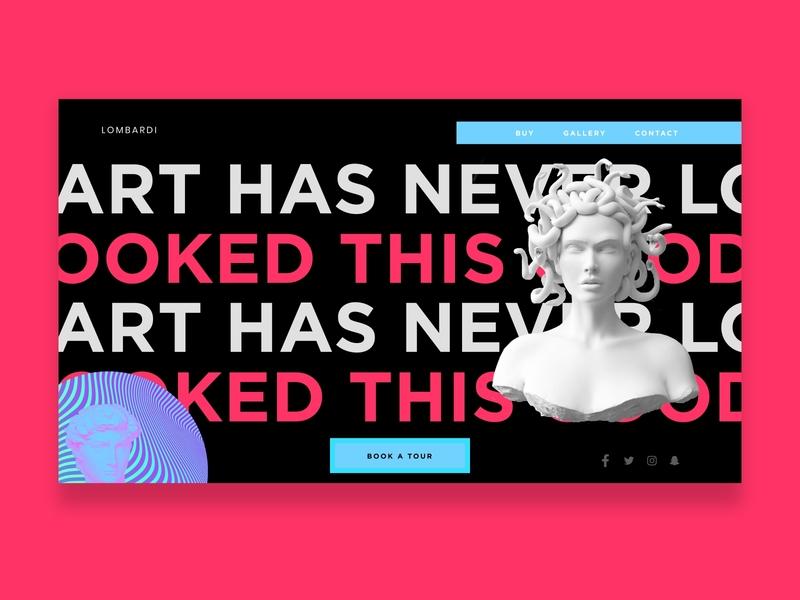 Lombardi Art Gallery - Dark UI uidesign pink trending new popular modern bold dark ui studio art clean gray black africa nigeria web ui freelance invision design