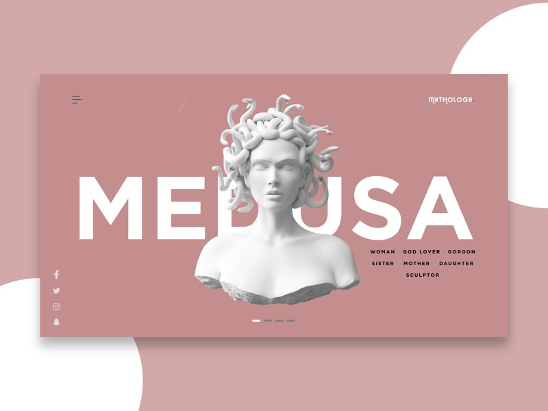Landing page for Mythology site - Medusa monster medusa greek mythology clean minimalist africa nigeria web ui freelance invision design