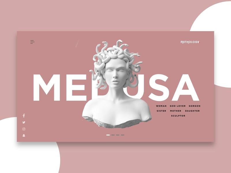 Landing page for Mythology site - Medusa female history trending studio new popular monster medusa greek mythology clean minimalist africa nigeria web ui freelance invision design