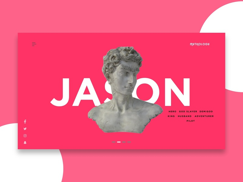 Mythology Landing Page - Jason pink mythology studio clean minimalist africa nigeria web freelance ui invision design