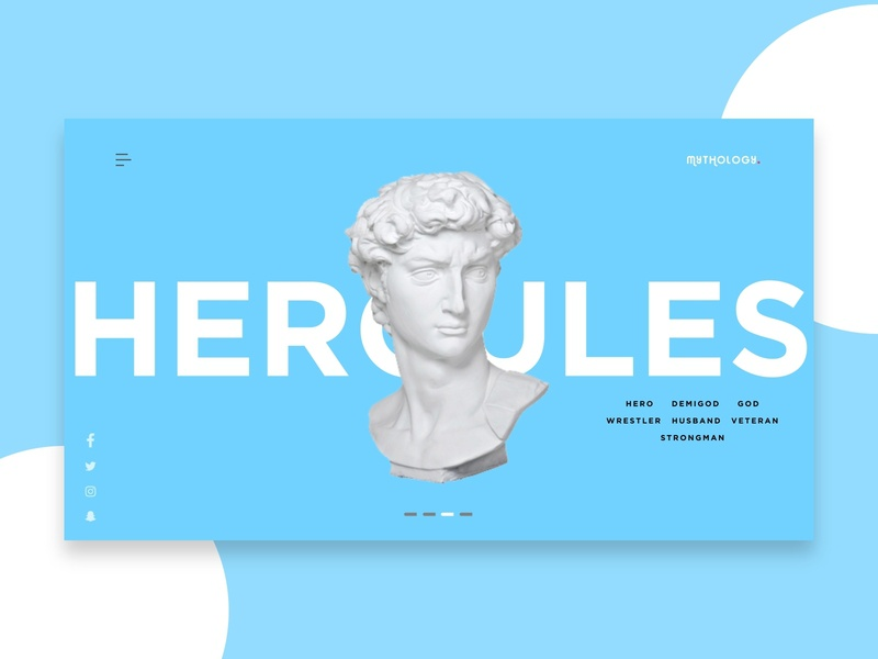 Mythology Landing Page - Hercules mythology blue studio clean minimalist africa nigeria web freelance ui invision design
