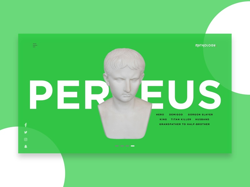 Mythology Landing Page - Perseus statue green mythology studio clean minimalist africa nigeria web freelance ui invision design