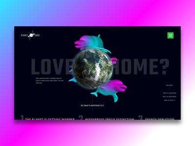 PlanetCare Landing Page inspiration desktop earth animals uidesign new popular environment pink studio clean minimalist africa nigeria web freelance ui invision design