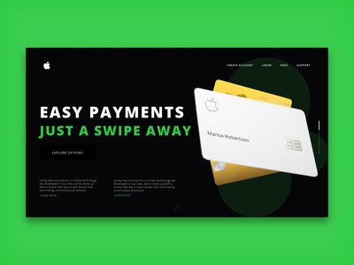 Apple Pay Landing page Header design ui design trending ui header green new popular finance apple dark ui black studio clean africa nigeria web freelance ui invision design