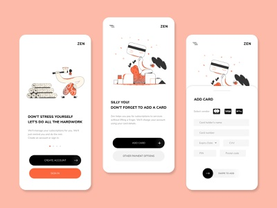 Zen Lifestyle App subscription mobile app minimalist popular new clean studio ui invision design
