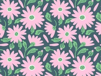 Vector seamless pattern of summer light pink blossoms and leaves