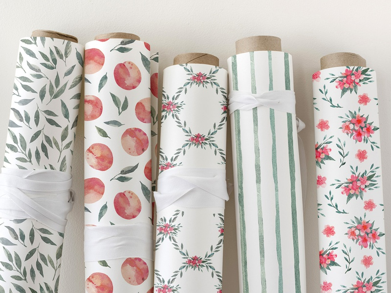 Peach collection design wrapping textile design watercolor pattern watercolor illustration watercolor surfacedesign textile surface pattern wrapping paper pattern fabric seamless pattern