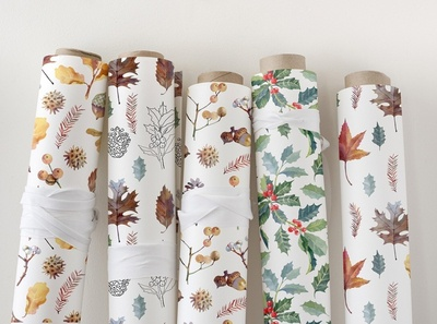 Enchanted forest. Collection of wrapping paper with botanical