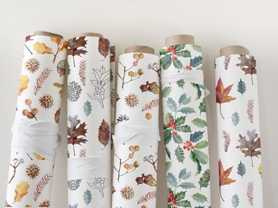 Enchanted forest. Collection of wrapping paper with botany botany graphic design graphic wrapping paper wallpaper botanical art botanical illustration illustration pattern surface pattern surfacedesign