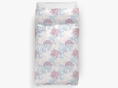 Seamless pattern for home textile with delicate tulips