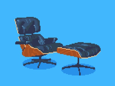 8-Bit Eames Chair eames 8bitart pdx portland retro design retro pixel lounge chair midcentury modern industrialdesign 8bit pixelart illustration