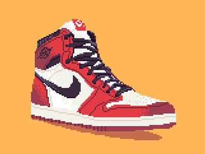 8-Bit Air Jordan classic vintage bulls chicago pdx portland michael jordan nba basketball nike shoe sneaker illustration pixel. pixel art
