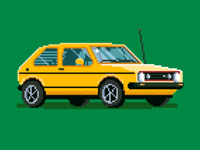 8-Bit Rabbit portland pdx retro gti hatchback volkswagen rabbit golf vw car icon illustration drawing pixel art