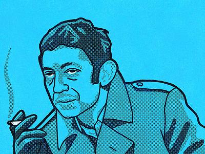 Serge serge gainsbourg halftone french procreate illustration portrait