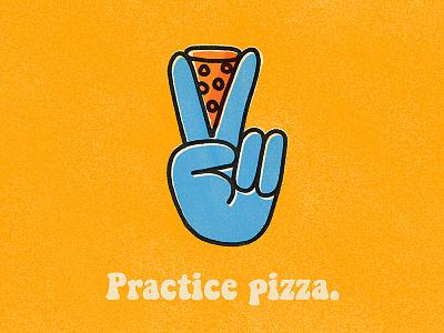 Practice Pizza oregon pdx portland texture screen print photoshop procreate illustrator illustration hands pizza peace