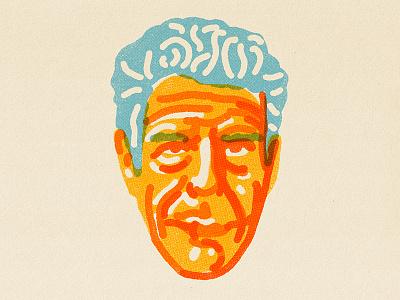 Anthony Bourdain texture true grit illustration procreate bourdain chef portrait rip anthony bourdain