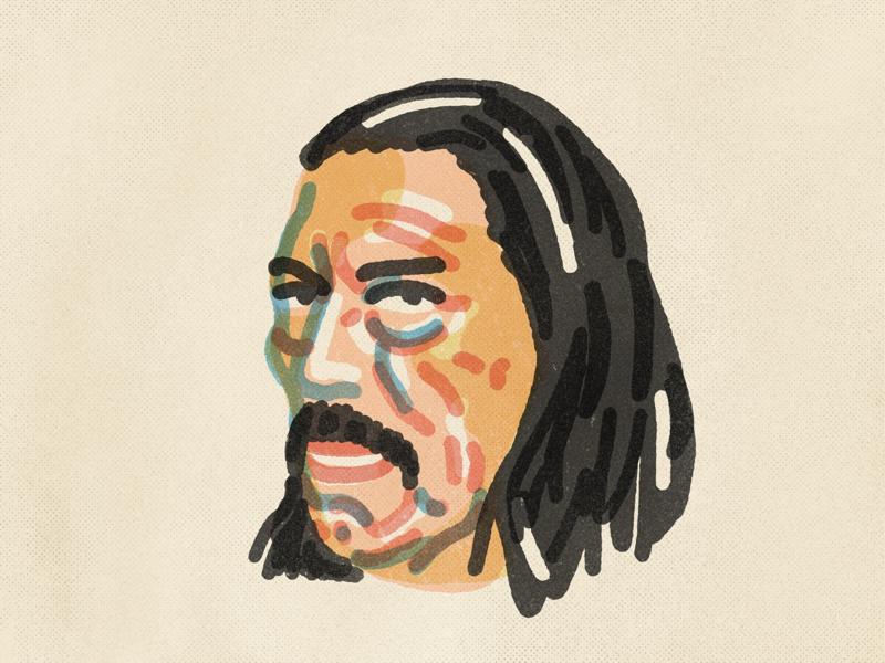 Danny Trejo mexican american actor chicano la los angeles pdx portland texture procreate illustration portrait