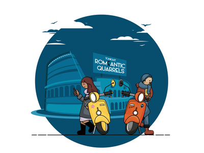 Rome-antic quarrel digital art rome digitalart love cartoon branding cartoon illustration design digital illustration vector illustration