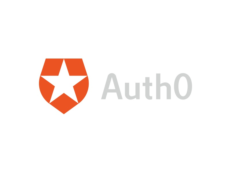 Auth0 lettering brand logo shield star security