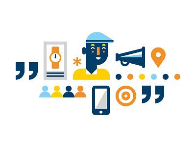 IBM new york ibm marketing advertising communication megaphone watch audience character design