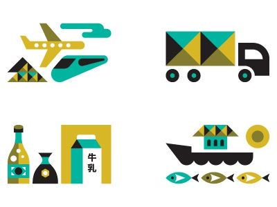 Monocle japan japanese business sectors monocle magazine editorial illustration plane truck train rail soy boat fish sun milk economy cloud mt. fuji transport icons icon tokyo fishing beer mountain ty wilkins