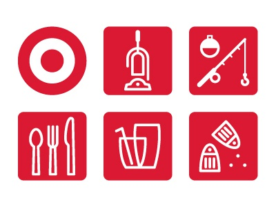 Target Icons vacuum fishing pole bobber fishing spoon fork knife cutlery signage sign icons icon glass glassware salt pepper shaker target store