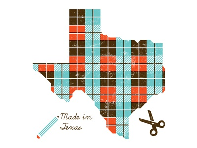 Made in Texas texas scissors pencil state design illustration talk lecture plaid create austin