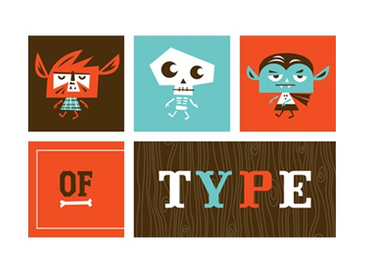 Monsters of Type monsters skeleton werewolf vampire type friends of type typography slab serif tuscan illustration
