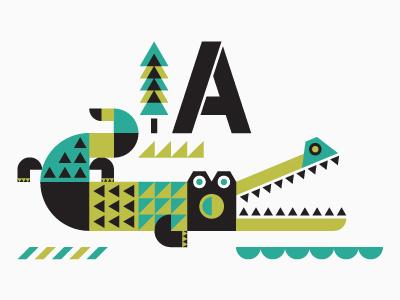 Anorak animal anorak alligator a tree stencil pattern swamp water stripes teeth custom type illustration
