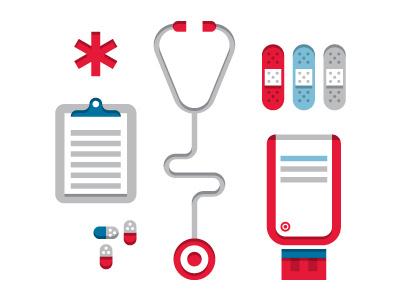 Target Clinic target bandage rx pill band-aid pharmacy clinic clipboard stethoscope deborah adler star target clear rx prescription label