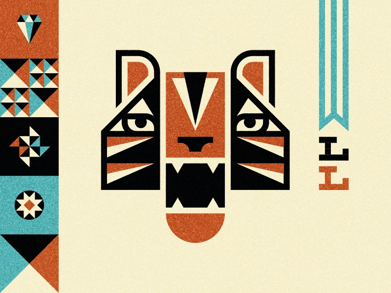 LogoLounge logolounge tiger logo icon animal cat lettering stripes pattern diamond pinwheel banner teeth illustration ty wilkins
