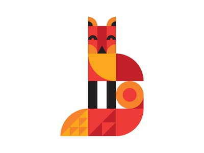Fox character san francisco fox animal illustration orange red yellow simple minimal geometric wilkins austin ty texas