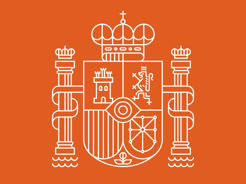 Monocle linear crest heraldry lion crown eye shield pillar water castle illustration ty wilkins london