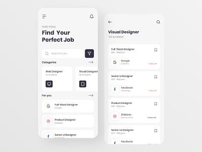 Job Finder Application job finder jobs job app app design clean ui simple clean ux branding flat ui design