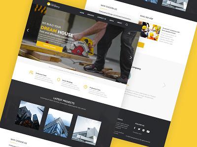 Construction Landingpage trend clean ui minimal landscape clean simple branding web webdesign flat ui design