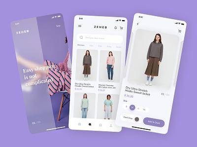 Zeheb   Mobile Fashion Shop App fashion design fashion brand fashion shopping shop typography clean ui app ux clean simple app design flat ui design
