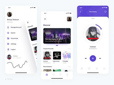 Lyena - Music Player App uxdesign uikits trend music minimal clean ui branding ux clean simple app design flat ui design