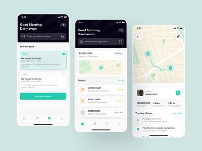 Package Tracking Mobile App location package tracking tracking delivery tracking package branding ux simple clean app design flat ui design uiux