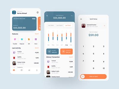 Miwa - Financial App app e wallet finance simple branding ux clean app design design flat ui financial wallet