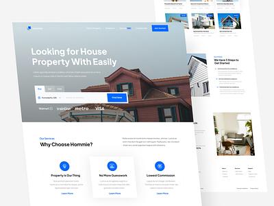 Hommie - Real Estate Landingpage branding house property services website real estate property landing page landing page ux simple clean design flat ui