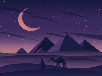 Oenta - Camel landscape animal illustrator web flat vector ui design illustration