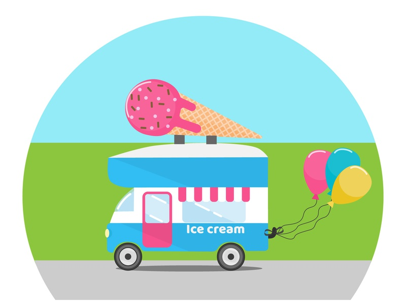 Ice cream truck cone street delivery sweets summer truck vector ice cream