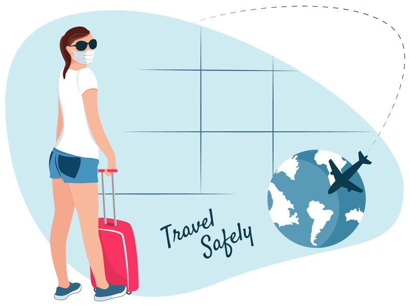 A girl in a face mask with suitcase at the airport. Safe travell vacation tourist baggage luggage healthcare epidemic safety travel mask coronavirus airport vector