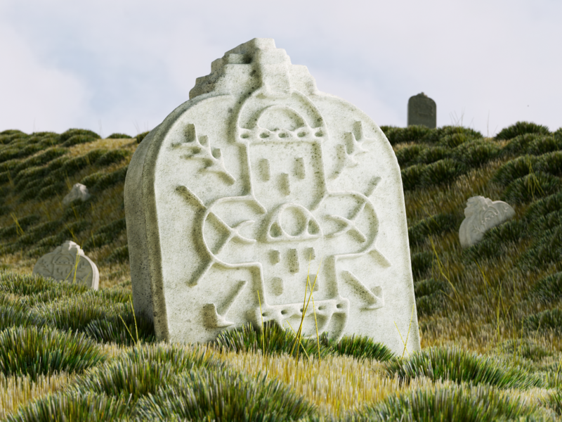 Tombstone all seeing eye eye grass graveyard tombstone octane cinema 4d 3d c4d