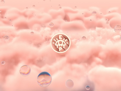 Head in the Clouds 3d type 3d concept environment landscape pink branding logo puff refraction bubbles octane clouds 3d logo cinema4d c4d