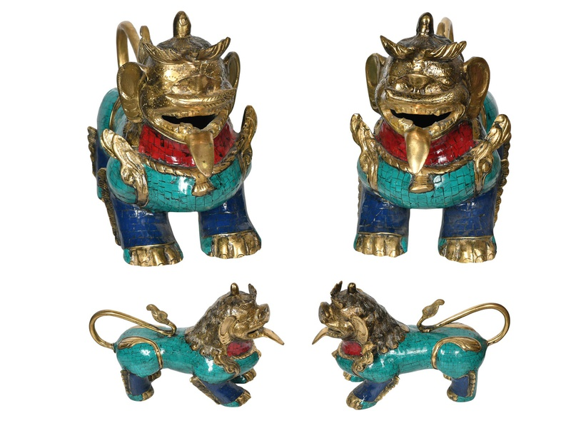 Get Leonine Temple Guards Made Of Brass with Inlay Statue leonine guard statues temple guard buddha brass statues sculptures