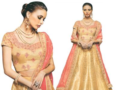 Get Buff Yellow Brocaded Lehenga with Floral Choli fashion womens wear wedding dress indian textiles lehenga choli salwar kameez textiles